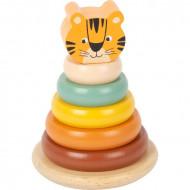 Tiger Stacking Tower, Turn piramida cu inele pentru stivuit. Jucarie lemn Small Foot.