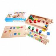 Joc creativ de insiruire cu margele din lemn, Joc educativ Montessori.