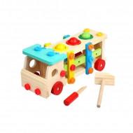 Jucarie din lemn Micul Mester, Camion cu bile si scule de asamblat. Jucarie Montessori.