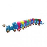 Jucarie din lemn Tren cu cifre Omida colorata. Joc de snuruit.