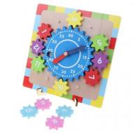 Jucarie educativa Ceas lemn cu roti zimtate, Gear Clock. Jucarie ceas Montessori.