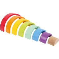 Jucarie Montessori Curcubeu 8 piese, Wooden Building Blocks Rainbow Small Foot.