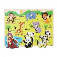 Puzzle incastru din lemn cu buton Animale Salbatice, Dinozauri. Puzzle Montessori.