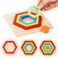 Puzzle incastru Montessori, Forme si Culori.  Karusel Jucarii