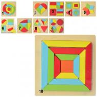 Puzzle lemn cu diverse forme geometrice, Puzzle educativ Montessori.