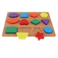 Puzzle lemn incastru 12 forme geometrice.