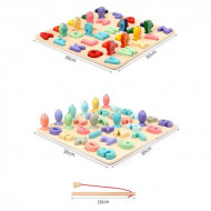 Set 2 Puzzle incastru Montessori Litere si Cifre, Joc de pescuit. 2 in 1.