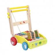 Antemergator din lemn pentru bebelusi cu xilofon si maner reglabil.
