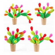 Joc educativ din lemn Cactus colorat. Joc Montessori.