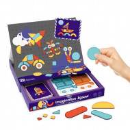 Joc puzzle magnetic forme geometrice Tangram, Carte magnetica Imagination JigSaw.
