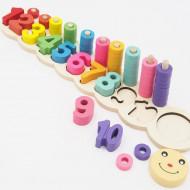 Jucarie lemn educativa Omida Sortator cu cifre si inele. Joc matematica distractiva.