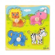 Puzzle incastru cu buton si imagine corespondenta. Puzzle din lemn pentru copii.