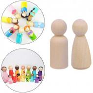Set 50 păpuși figurine lemn natur - Peg Dolls. Pioni lemn blank Waldorf si Montessori.