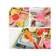 Set joaca din lemn, Magazinul cu Fructe. Puzzle incastru, Feliat legume.