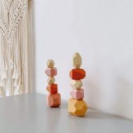 Set Montessori Pietre Colorate, Joc de echilibru Wooden Stones Stacking.