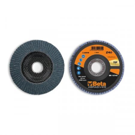 Poze Disc conic lamelar abraziv pentru slefuit, zirconiu, spate fibra de sticla, Ø125mm, TOP LINE 11220B