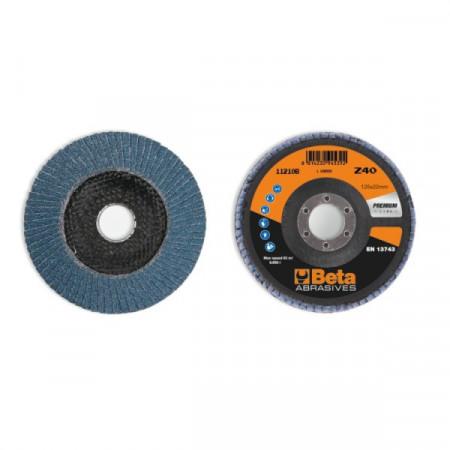 Poze Disc conic lamelar abraziv pentru slefuit, zirconiu, spate fibra de sticla, Ø125mm, PREMIUM LINE 11210B