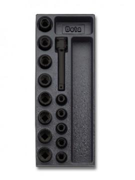 "Set tubulare si accesorii impact 1/2"" in suport termoformat T110"