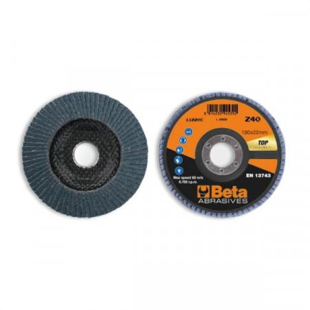 Poze Disc conic lamelar abraziv pentru slefuit, zirconiu, spate fibra de sticla, Ø180mm, TOP LINE 11220C