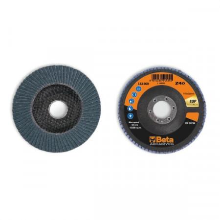 Poze Disc lamelar abraziv pentru slefuit, zirconiu, spate fibra de sticla, Ø115mm, TOP LINE 11216A