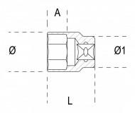 Tubulara bihexagonala actionare 3/8', 18mm 910B