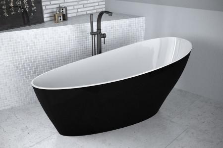 Cada freestanding Besco Keya alb-negru 165x75cm