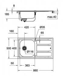 Chiuveta bucatarie inoxidabila Grohe K 400 cu picurator