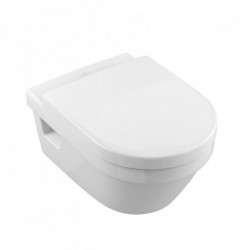Set vas WC suspendat Villeroy & Boch, Arhitectura, rotund, cu capac soft close,quick release alb alpin