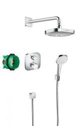 Sistem de dus cu termostat Hansgrohe Design Croma Select E Ecostat E incastrat