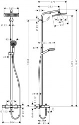 Coloana de dus Hansgrohe Crometta E240 cu baterie monocomanda