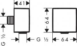 Conector dus Hansgrohe FixFit Square