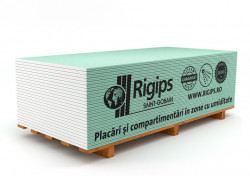 Placa gips carton tip H protectie umiditate Rigips RBI 12.5 x 1200 x 2600 mm