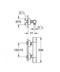 Baterie dus Grohe Grohtherm 1000 Cosmopolitan M termostatica