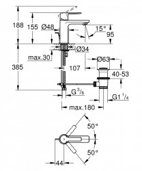 Baterie lavoar Grohe Lineare marimea XS