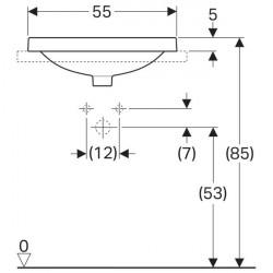 Lavoar incastrat Geberit Variform dreptunghiular cu preaplin 55x40 cm