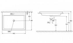 Lavoar incastrat Grohe Cube Ceramic cu PureGuard 60.5x49 cm