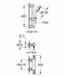Set baterie dus Grohe Grohtherm 800 termostatica cu set de dus New Tempesta