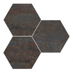 Hexagon gresogranit Rust Titanium natural Apavisa Porcelanico, 10mm, 25x30 cm