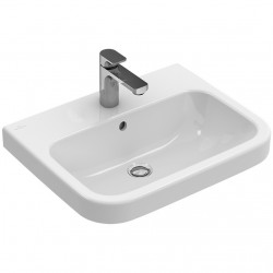 Lavoar compact cu fixare pe perete sau incastrat pe blat, Villeroy & Boch 60x47 cm, alb alpin