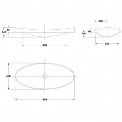 Lavoar incastrat Gala Klea 90 x 40 cm