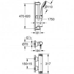 Set baterie dus Grohe Grohtherm 2000 termostatica cu set de dus Euphoria