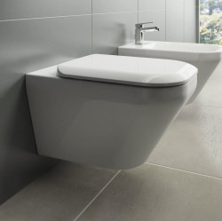 Set vas wc Tonic II suspendat AquaBlade, cu fixare complet acunsa, si capac soft-close