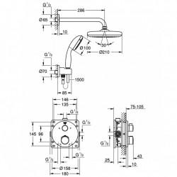 Sistem de dus Grohe Grohtherm Tempesta 210 incastrat cu baterie rotunda