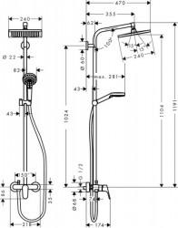 Coloana de dus cu termostat Hansgrohe Crometta E240