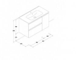 Dulap baza cu lavoar Gala Jade 2 sertare 1 usa alb 90 cm