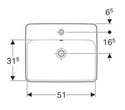 Lavoar incastrat Geberit Variform dreptunghiular cu preaplin 55x45 cm