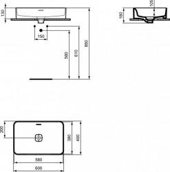 Lavoar pe blat Ideal Standard Strada II dreptunghiular 60x40 cm