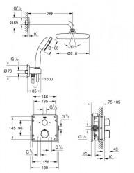 Sistem de dus Grohe Grohtherm Tempesta 210 incastrat cu baterie patrata
