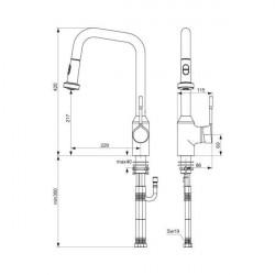 Baterie bucatarie Ideal Standard Retta, dus extractibil