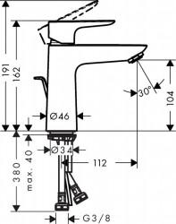 Baterie lavoar Hansgrohe Talis E 110 cu ventil